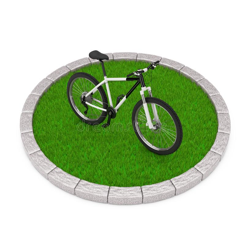 Svartvit mountainbike över rund täppa av täta gröna Gra royaltyfri illustrationer