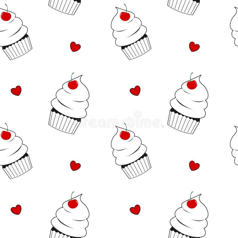 Svartvit muffin med den röda körsbärsröda gulliga sömlösa modellbakgrundsillustrationen vektor illustrationer
