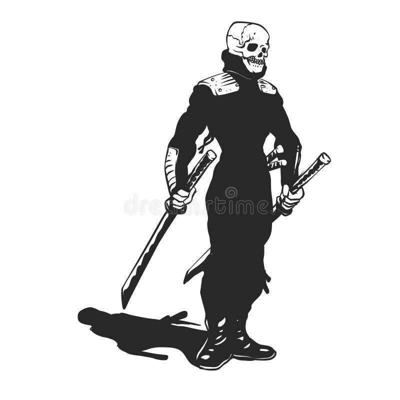 Svartvit Ninja skelett- illustration royaltyfri illustrationer
