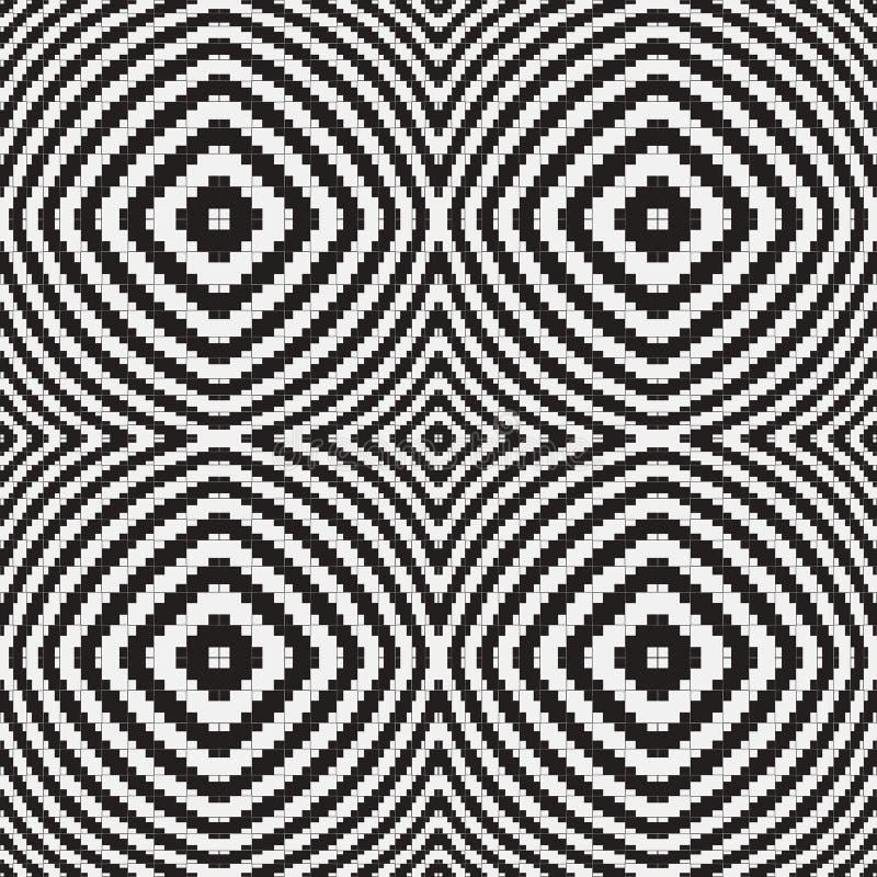 Svartvit optisk illusion, sömlös modell för vektor. royaltyfri illustrationer