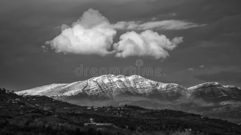 Svartvit panorama av sommarberget med sn? royaltyfria bilder