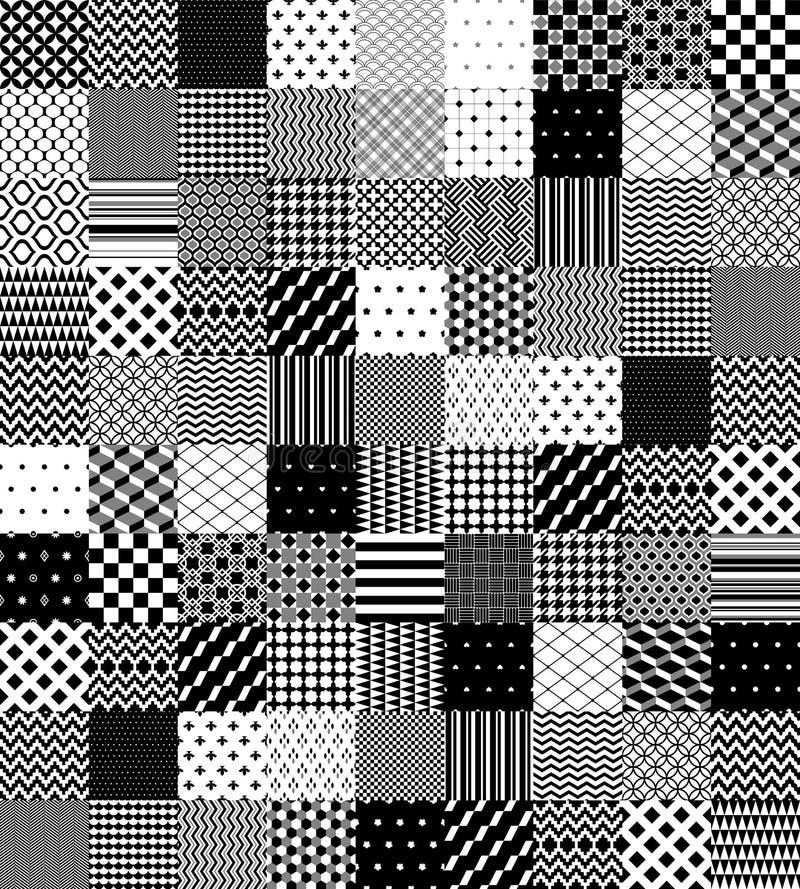 Svartvit patchwork vadderad geometrisk sömlös modell, vektoruppsättning vektor illustrationer