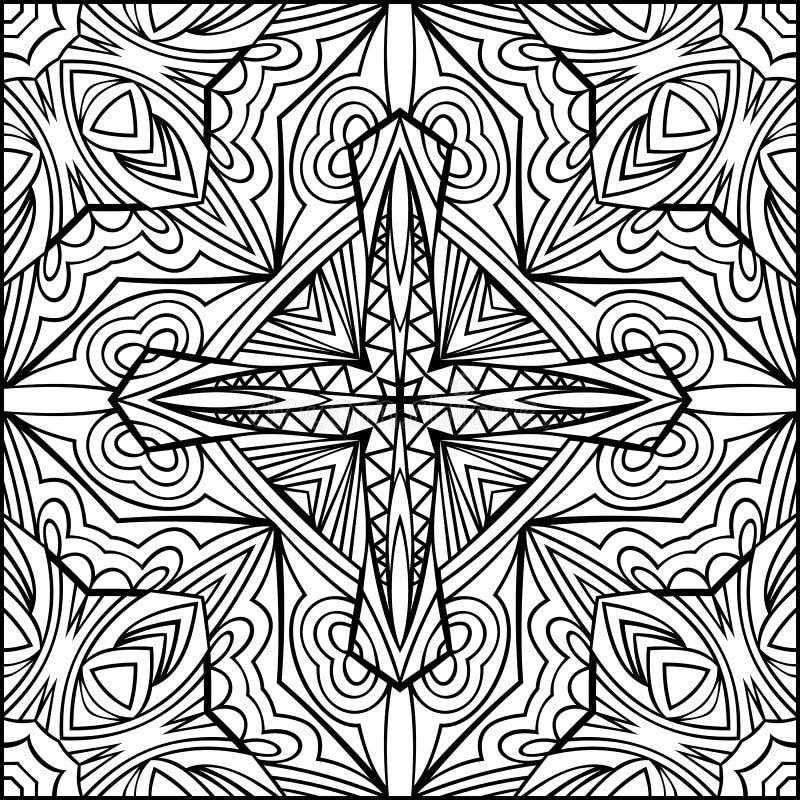 Svartvit prydnad för abstrakt arg Zentangle stil stock illustrationer