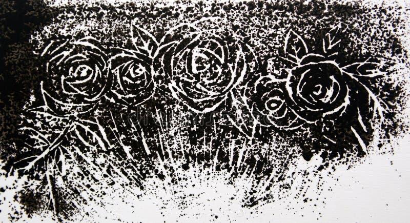 Svartvit prydnad från knoppar av rosor royaltyfri illustrationer