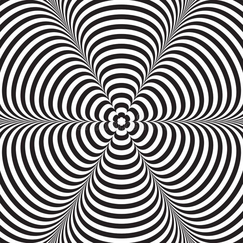 Svartvit randig bakgrund för abstrakt vektor optisk illusion royaltyfri illustrationer