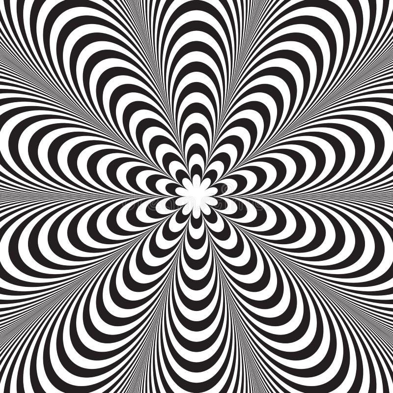 Svartvit randig bakgrund för abstrakt vektor optisk illusion stock illustrationer