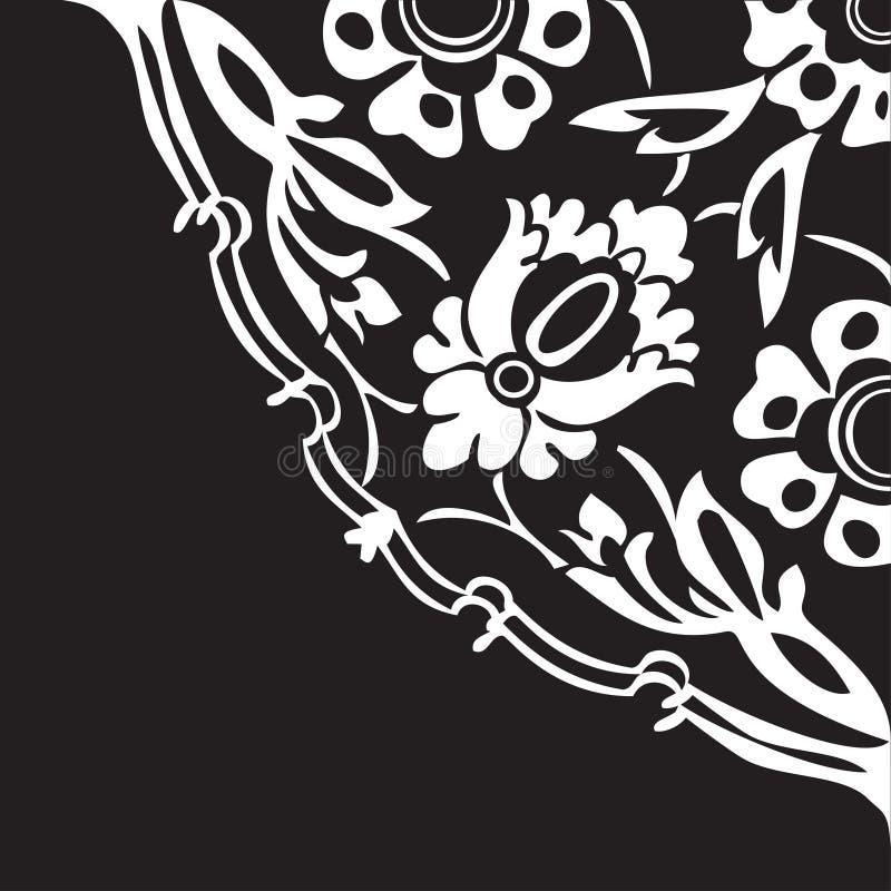 Svartvit rund blom- bakgrund V för gränshörnabstrakt begrepp stock illustrationer