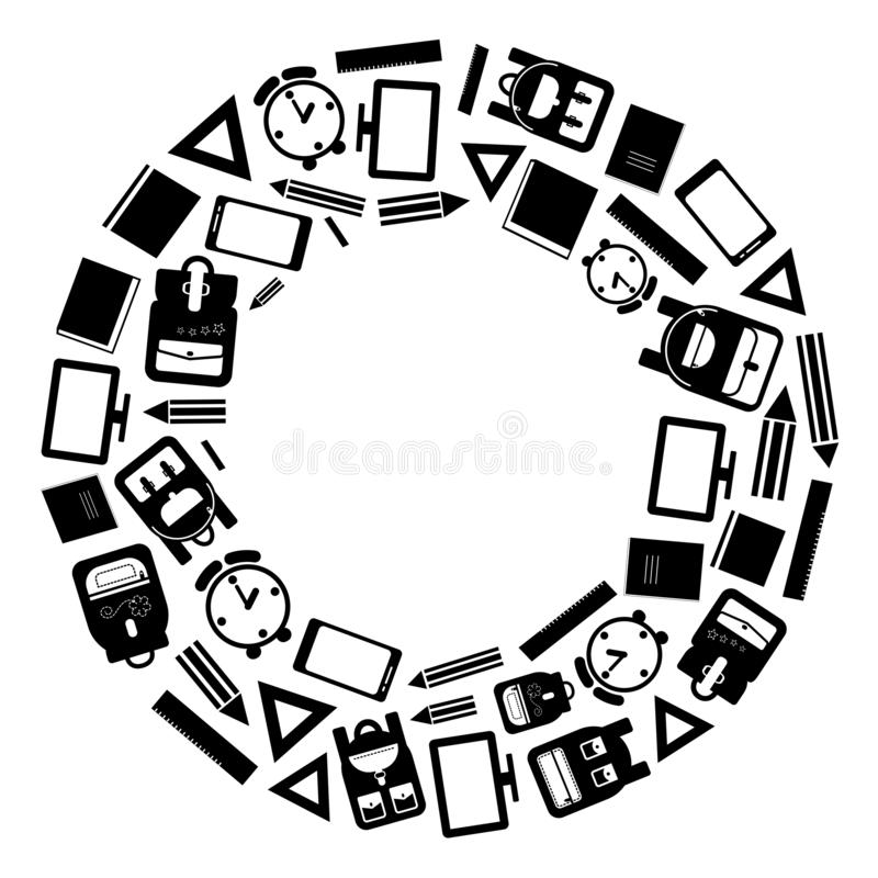 Svartvit rund ram eller bakgrund med skolatillförsel, vektor stock illustrationer