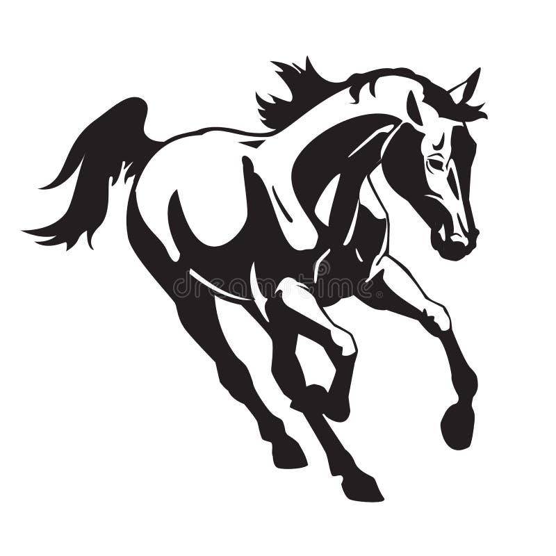 Svartvit Running häst stock illustrationer