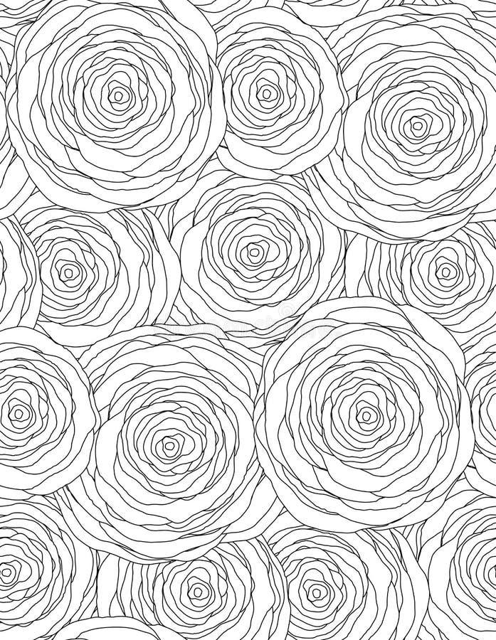 Svartvit sömlös blom- textur med översiktsrosor royaltyfri illustrationer
