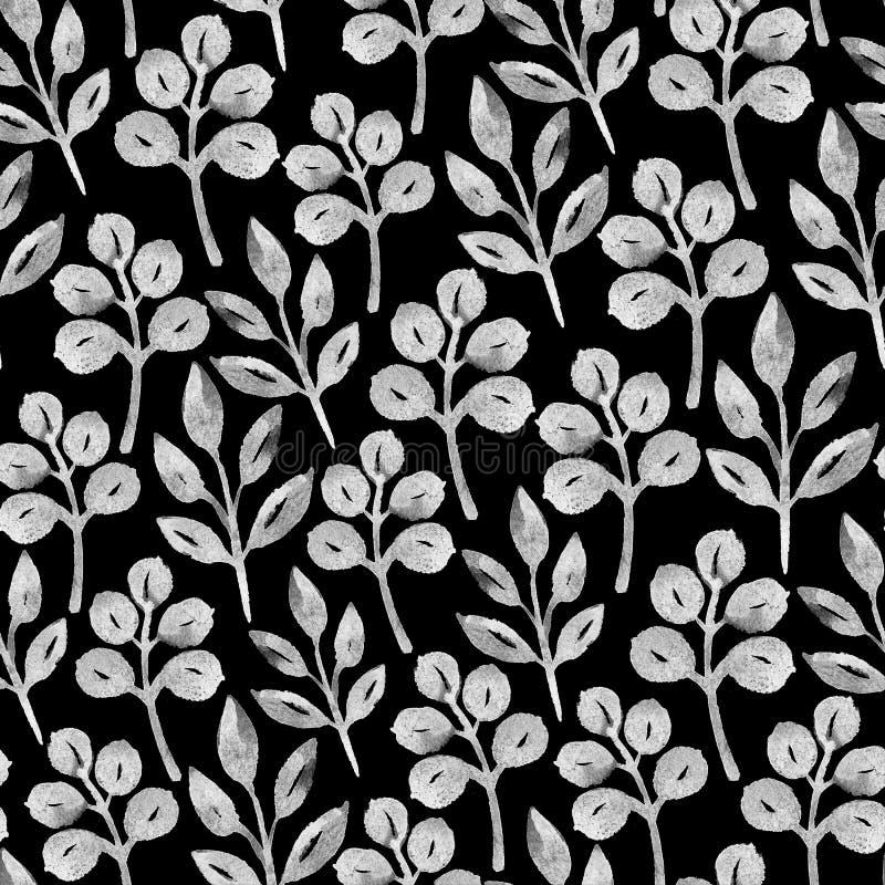 Svartvit sömlös design med vattenfärgväxter vektor illustrationer