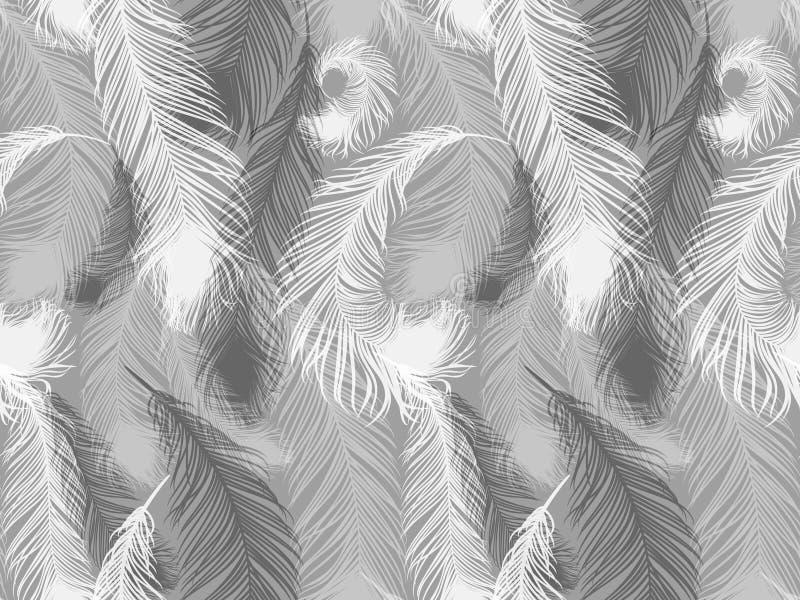 Svartvit sömlös fjädermodell Sömlös bakgrund med härliga fjädrar av fågeln royaltyfri illustrationer