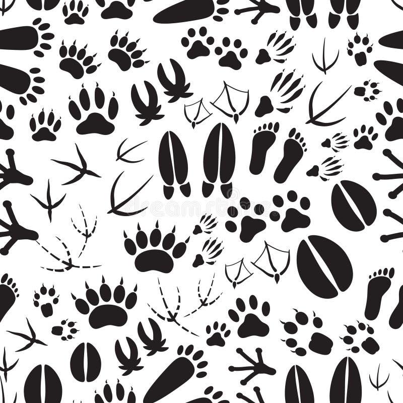 Svartvit sömlös modell för djura fotspår stock illustrationer