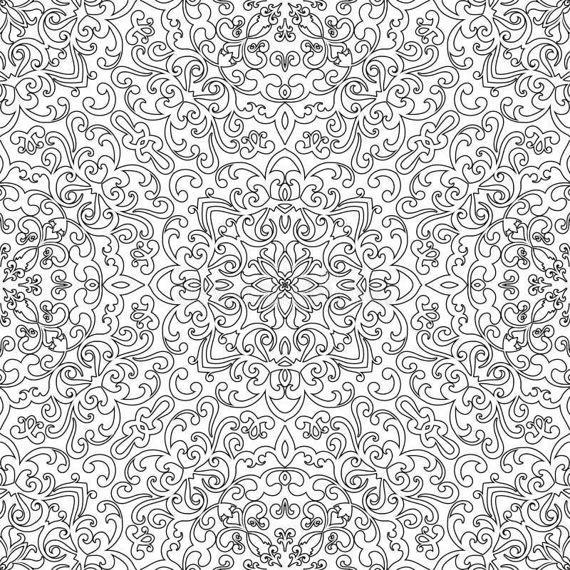 Svartvit sömlös modell för färgläggningbok vektor illustrationer