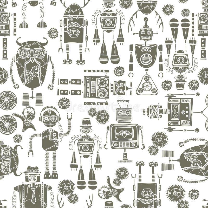Svartvit sömlös modell för Hipsterrobot vektor illustrationer