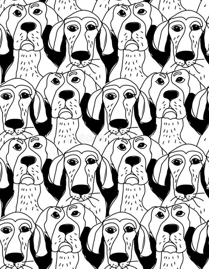 Svartvit sömlös modell för hundkapplöpningteckensinnesrörelser stock illustrationer