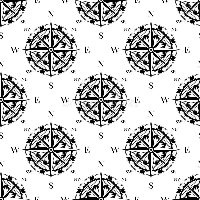 Svartvit sömlös modell för nautisk kompass vektor illustrationer