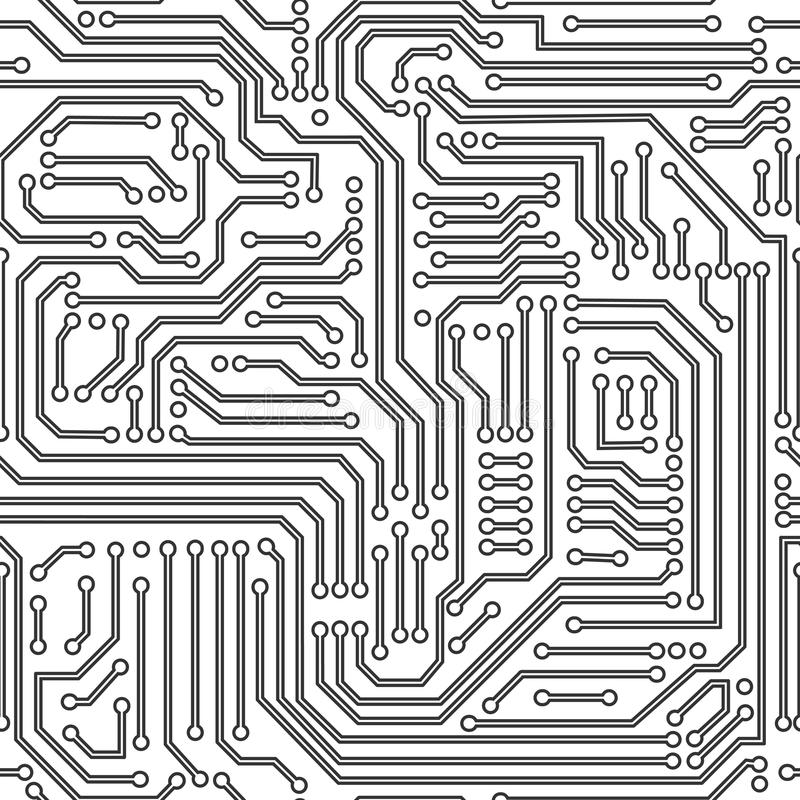 Svartvit sömlös modell för strömkretsbräde stock illustrationer