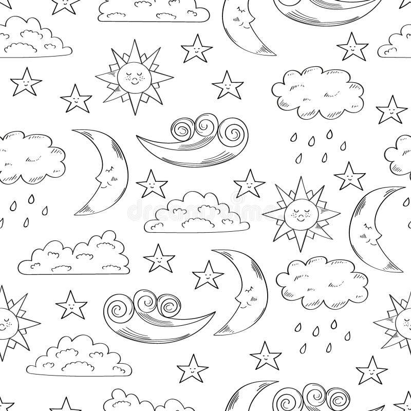 Svartvit sömlös modell med den gulliga den klottersolen, månen, moln och stjärnor royaltyfri illustrationer