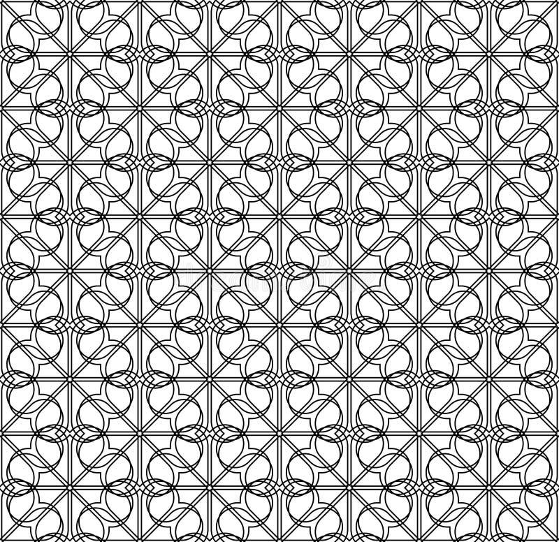 Svartvit sömlös modell med linjen, abstrakt bakgrund stock illustrationer