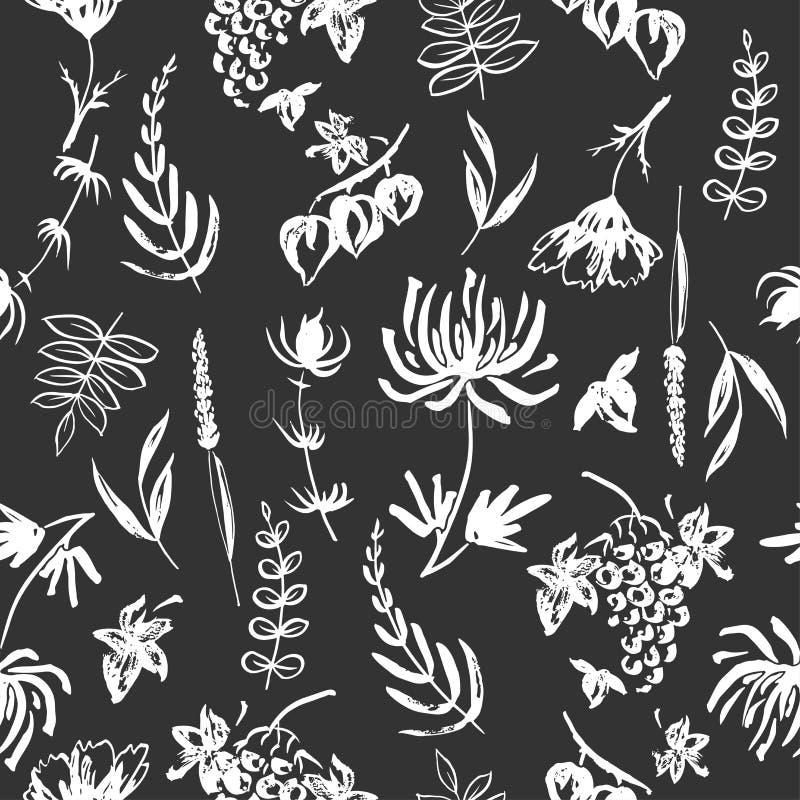 Svartvit sömlös patterm baserade förestående målade färgpulverhöstsidor, blommor, örter och bär royaltyfri illustrationer