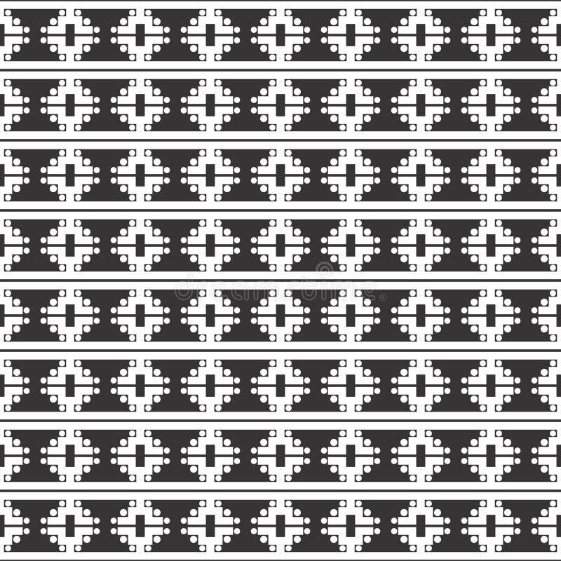 Svartvit sömlös upprepad geometrisk konstmodellbakgrund vektor illustrationer