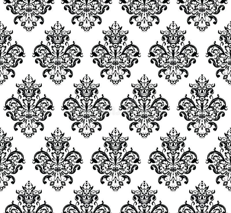 Svartvit sömlös upprepande vektormodell Elegant design i barock stilbakgrundstextur vektor illustrationer