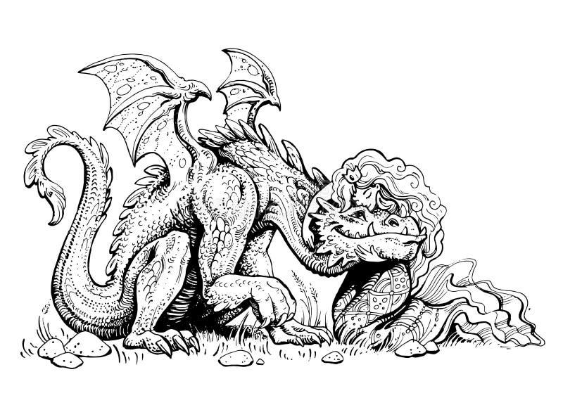 Svartvit sagolik illustration diagramf royaltyfri illustrationer