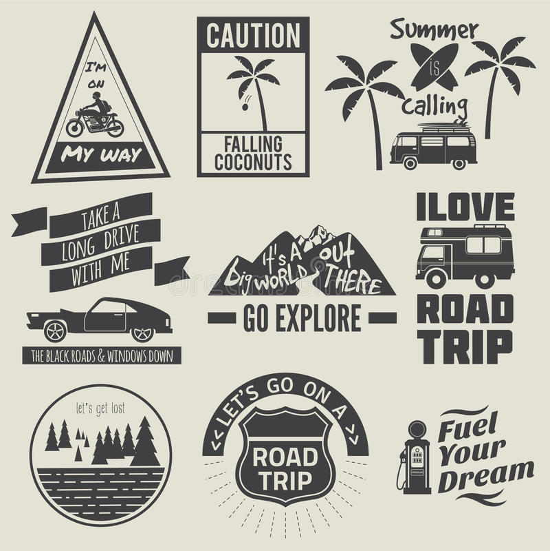 Svartvit samling för citationstecken för vägtur stock illustrationer