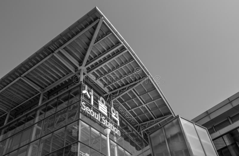 Svartvit Seoul station royaltyfria foton