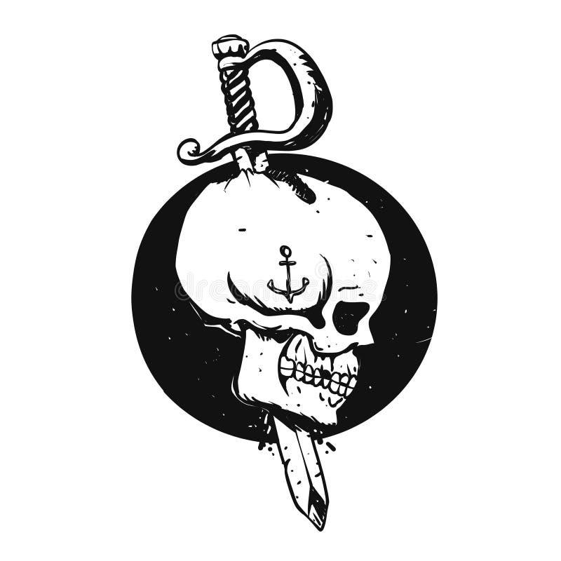 Svartvit sjömanskalleillustration royaltyfri illustrationer