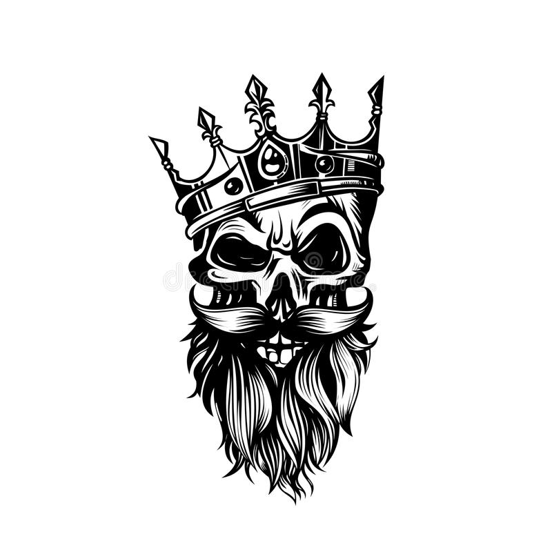 Svartvit skalle i krona med skäggvektorillustrationen royaltyfri illustrationer
