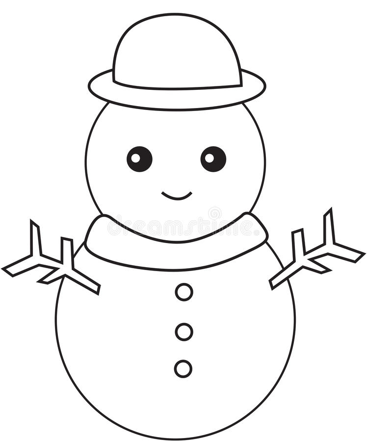 Svartvit snögubbe royaltyfri illustrationer