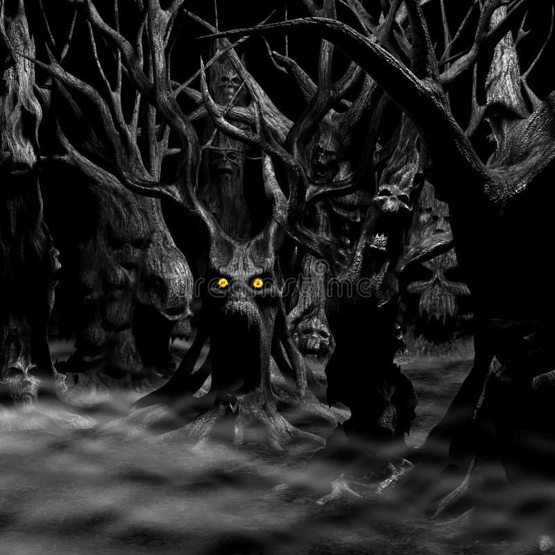 Svartvit spökad skog - royaltyfri illustrationer