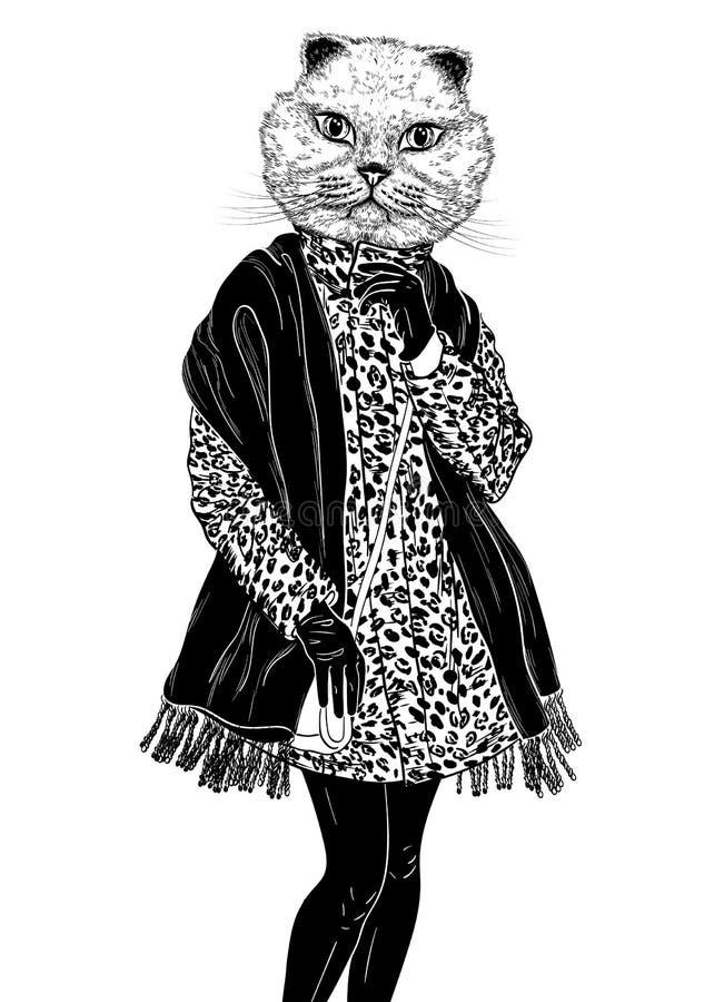 (Svartvit) stående för modeHipsterkatt, vektor illustrationer