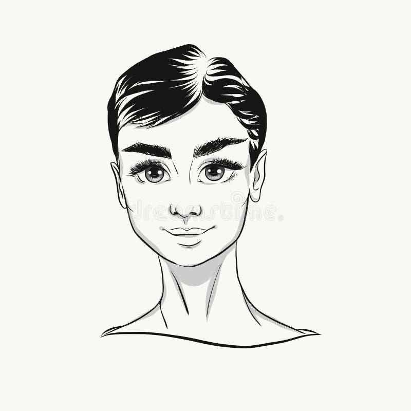 Svartvit stående för vektorAudrey Hepburn tecknad film Gullig framsida med stora ögon för modetryck vektor illustrationer