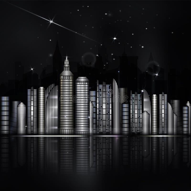 Svartvit stad för natt i vektor Staden med skyskrapan, rive stock illustrationer