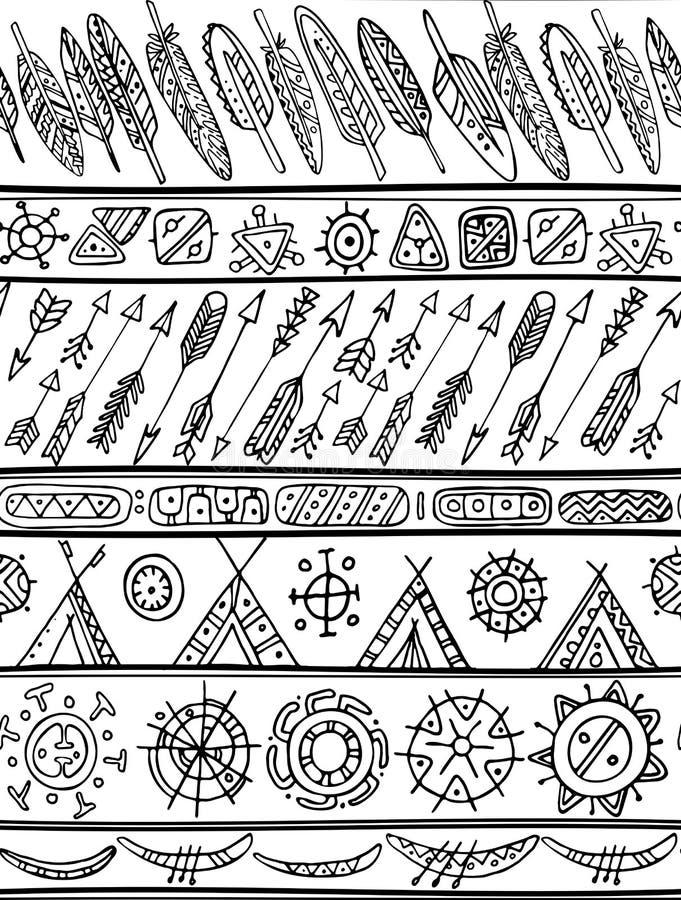 Svartvit stam- sömlös modell royaltyfri illustrationer