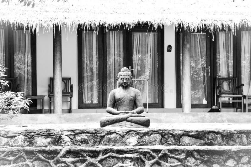 Svartvit stenstaty av Buddha som sitter och mediterar i den tropiska brunnsortträdgården royaltyfri fotografi