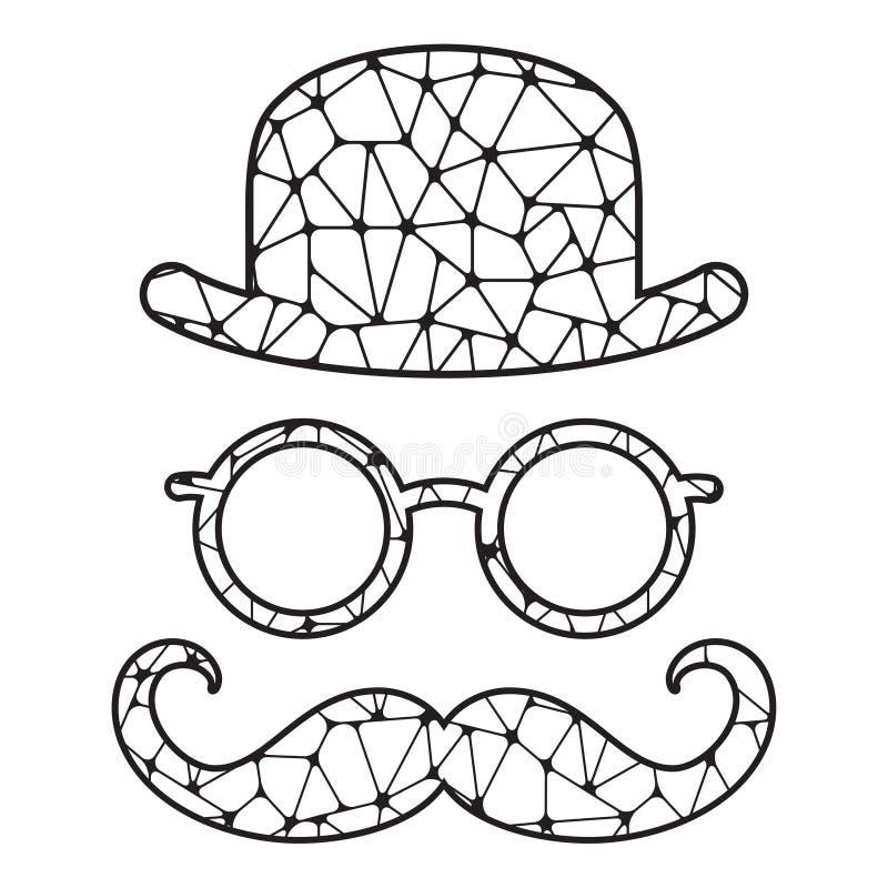 Svartvit stiliserad kastare, exponeringsglas och mustasch vektor illustrationer