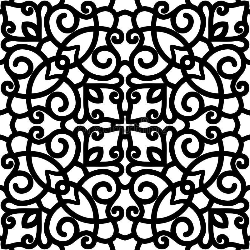 Svartvit swirly modell royaltyfri illustrationer