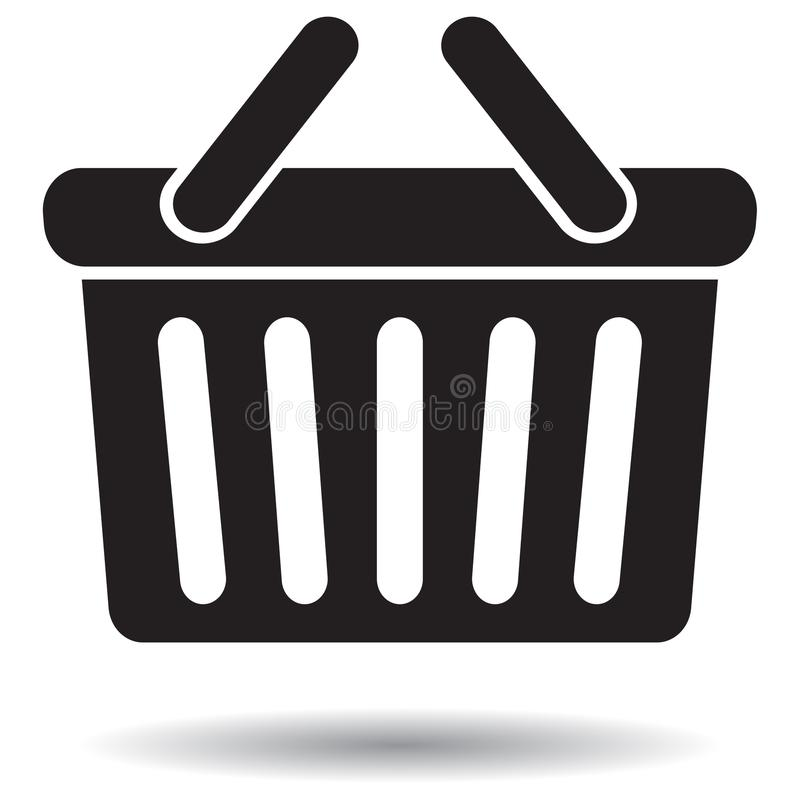 Svartvit symbol för shoppingkorg royaltyfria bilder