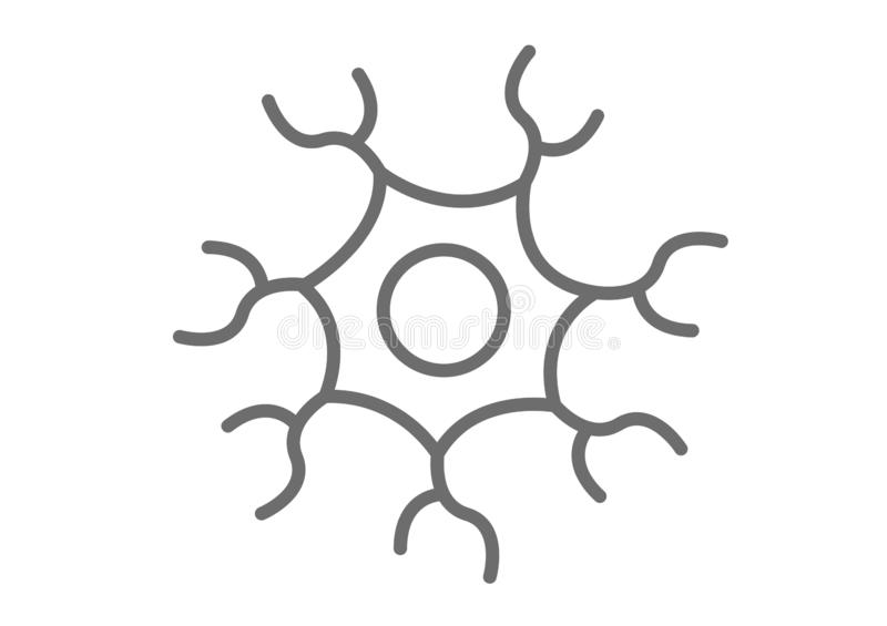 Svartvit symbols-/för symbol för nervcell vektor vektor illustrationer