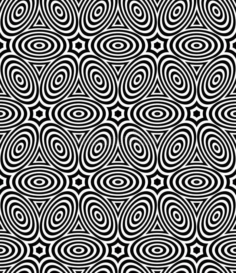 Svartvit symmetrisk sömlös modell för kontrast stock illustrationer