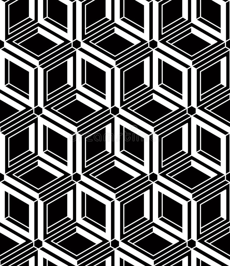 Svartvit symmetrisk sömlös modell för kontrast med interwe royaltyfri illustrationer