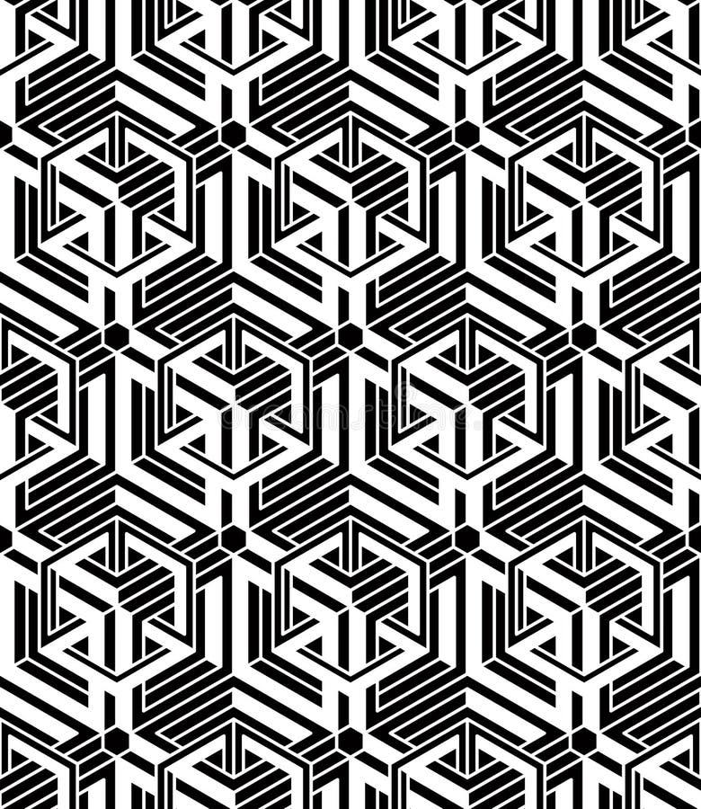 Svartvit symmetrisk sömlös modell för kontrast med interwe vektor illustrationer