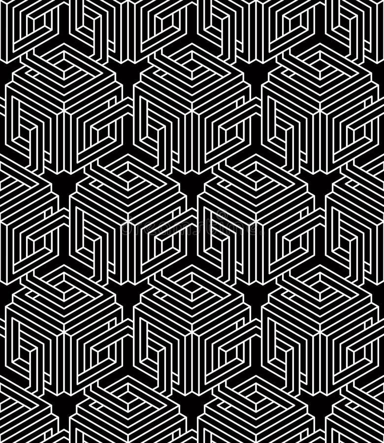Svartvit symmetrisk sömlös modell för kontrast med interwe stock illustrationer