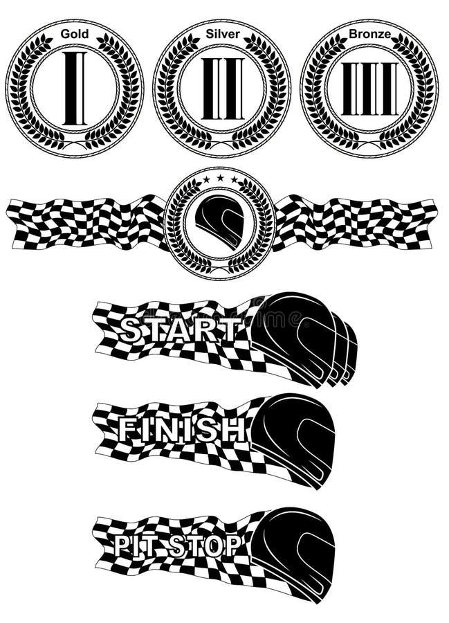 Svartvit tävlings- uppsättning för formel stock illustrationer