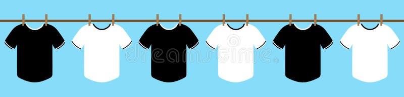 Svartvit T-tröjahängning på repet med torkdukeklämman torka kläder i solen med den blåa himlen illustration vektor vektor illustrationer