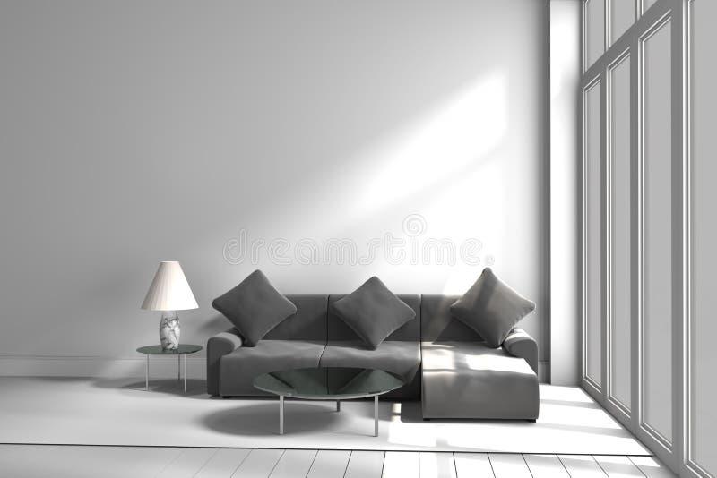 Svartvit tabell för färgsoffalampa, tolkning 3D arkivfoto